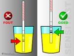 De dipstick tot aan het max-lijntje in de urine dippen.